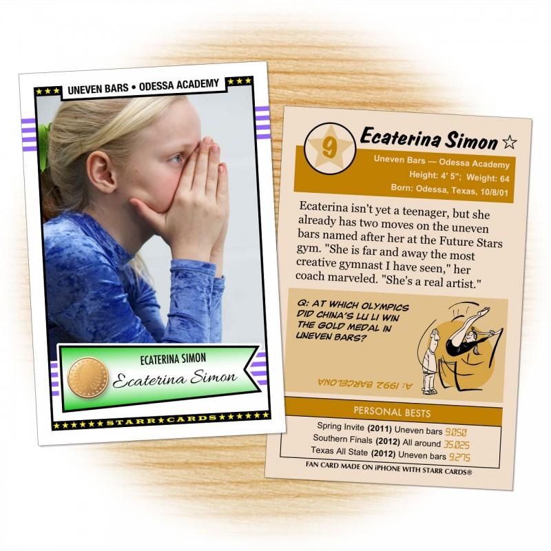 Gymnastics card template from Starr Cards Gymnastics Card Maker.