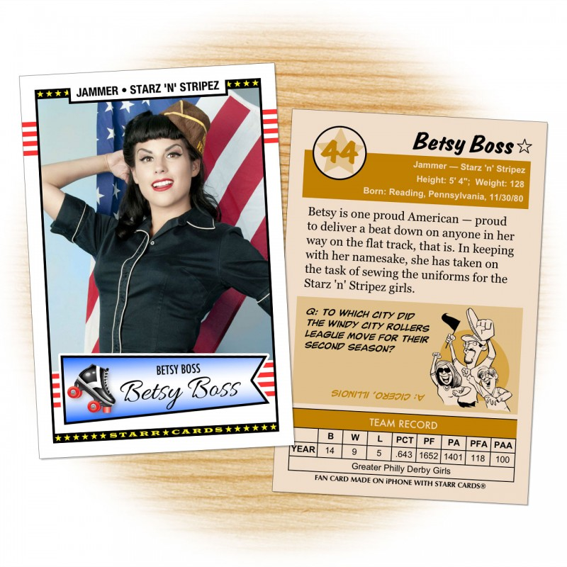 Roller derby card template from Starr Cards Roller Derby Card Maker.