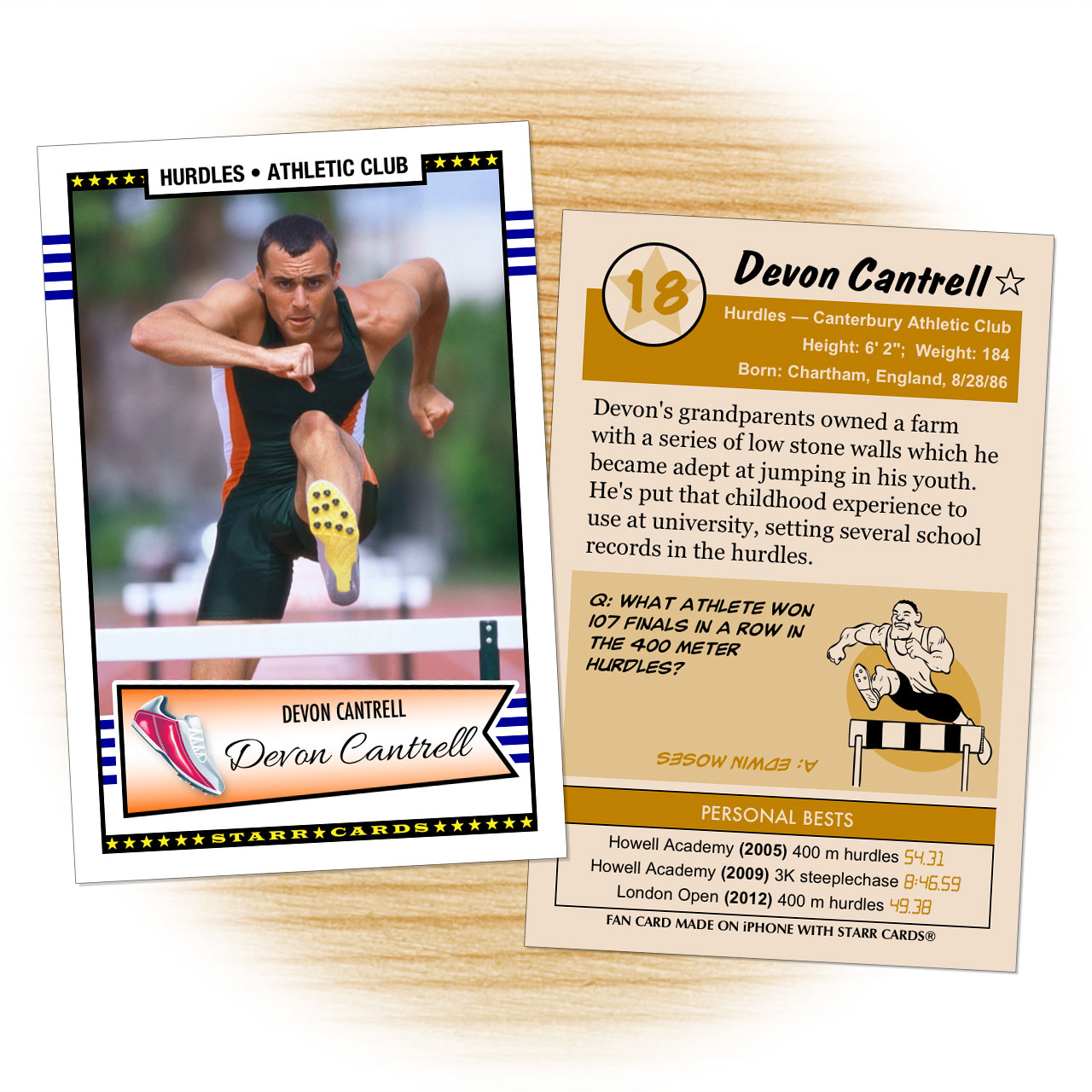 Track & field card template from Starr Cards Track and Field Card Maker.