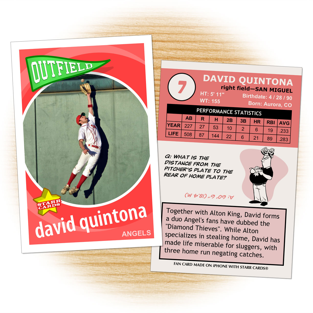 Baseball card template from Starr Cards Baseball Card Maker.