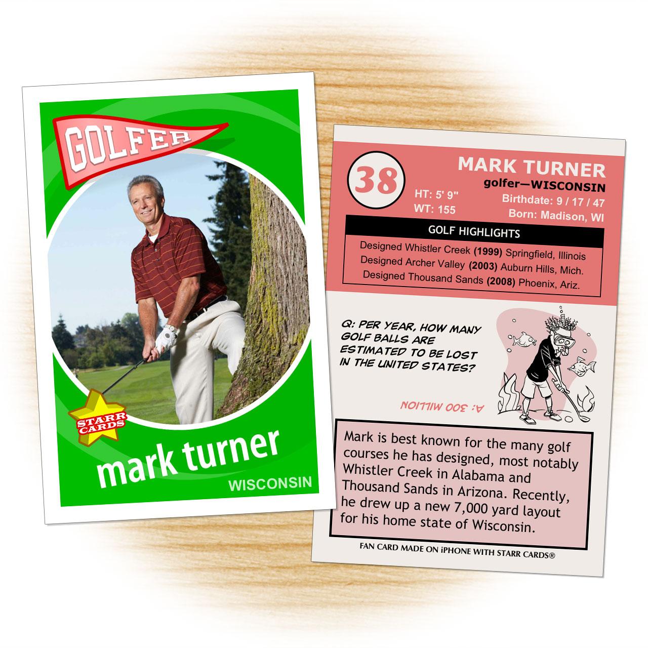 Golf card template from Starr Cards Golf Card Maker.