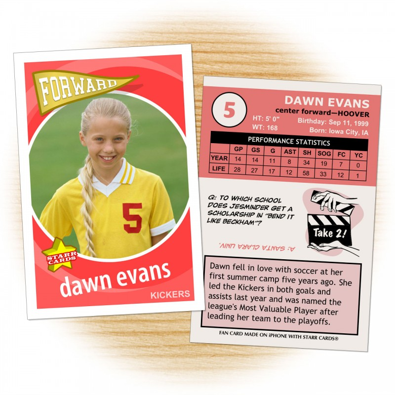 Soccer card template from Starr Cards Soccer Card Maker.