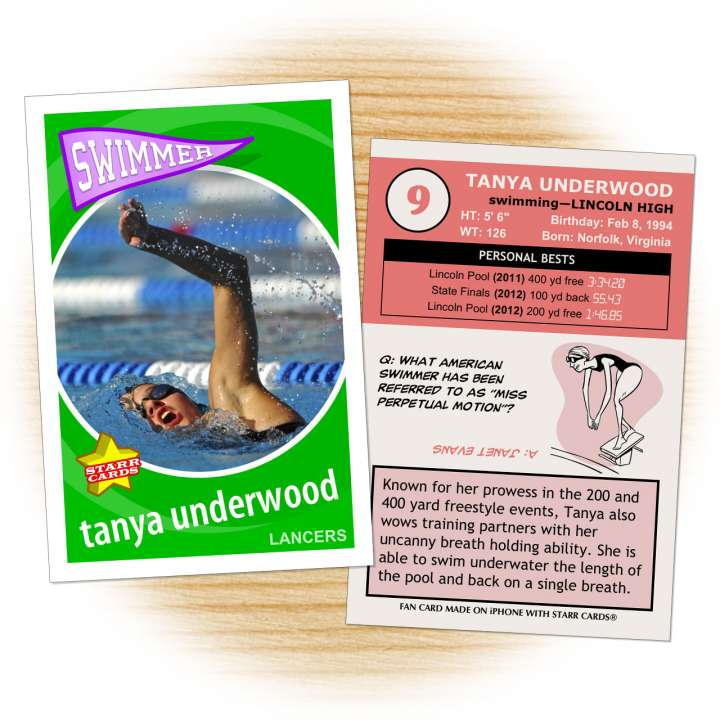 Swimming card template from Starr Cards Swimming Card Maker.