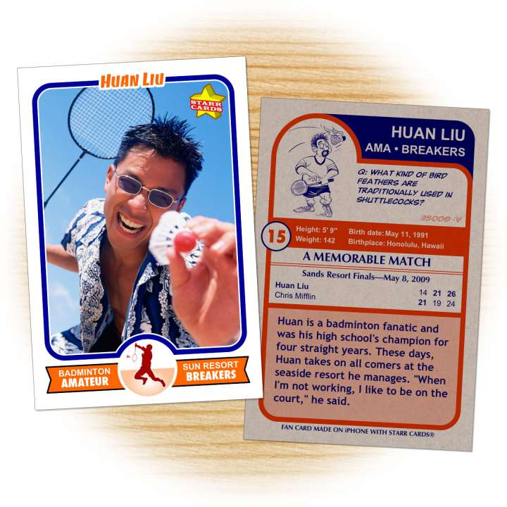 Badminton card template from Starr Cards Badminton Card Maker.