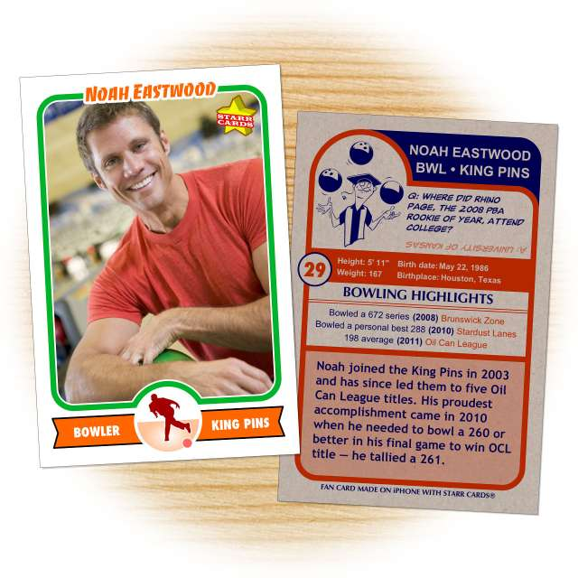 Bowling card template from Starr Cards Bowling Card Maker.