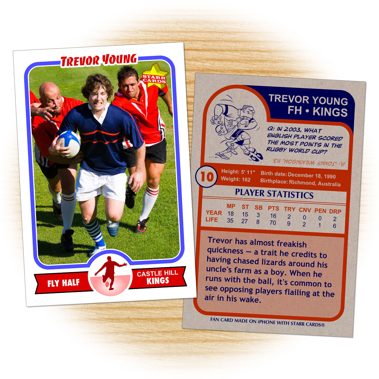 Retro 75 Series custom rugby cards