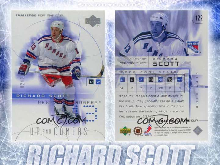 Richard Scott New York Rangers hockey card
