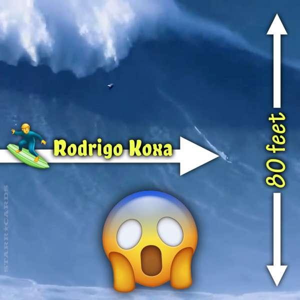 Rodrigo Koxa rides record 80-foot big wave at Nazaré, Portugal