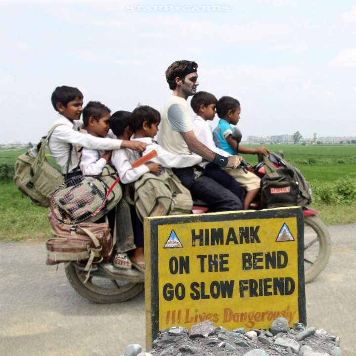 Roger Federer in India with some young fans