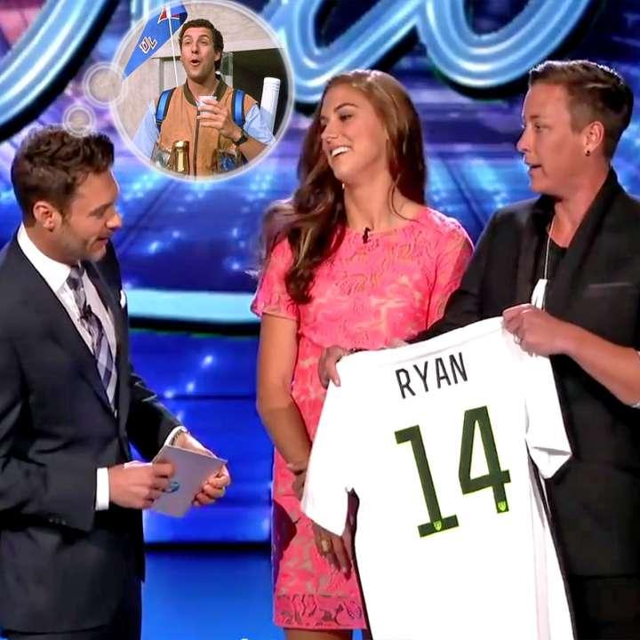 Ryan Seacrest with Alex Morgan and Abby Wambach on 'American Idol'