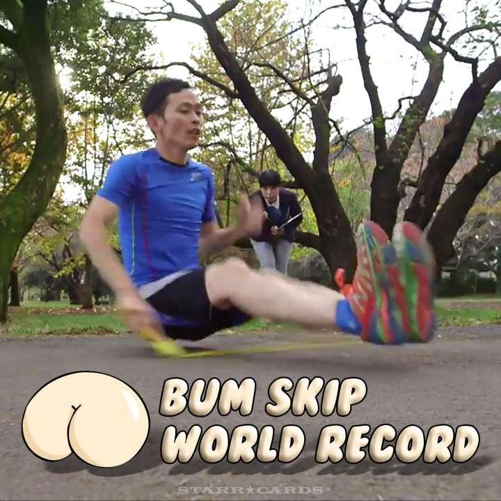 Sadatoshi Watanabe breaks jump rope world record for bum skips