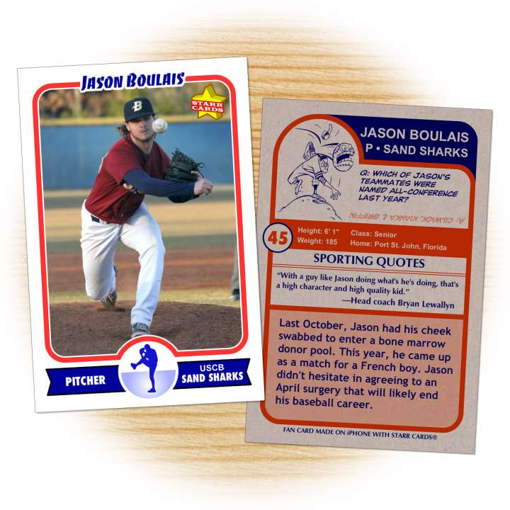 Sand Sharks pitcher Jason Boulais baseball card