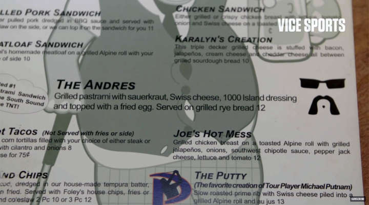 Sandwich named after PGA Tour golfer Andres Gonzales