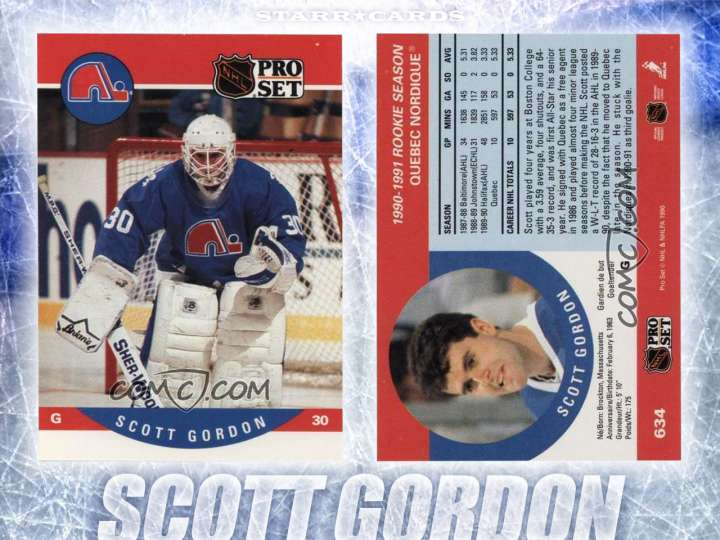 Scott Gordon Quebec Nordique hockey card