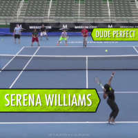 Serena Williams vs Dude Perfect in tennis trick shots video