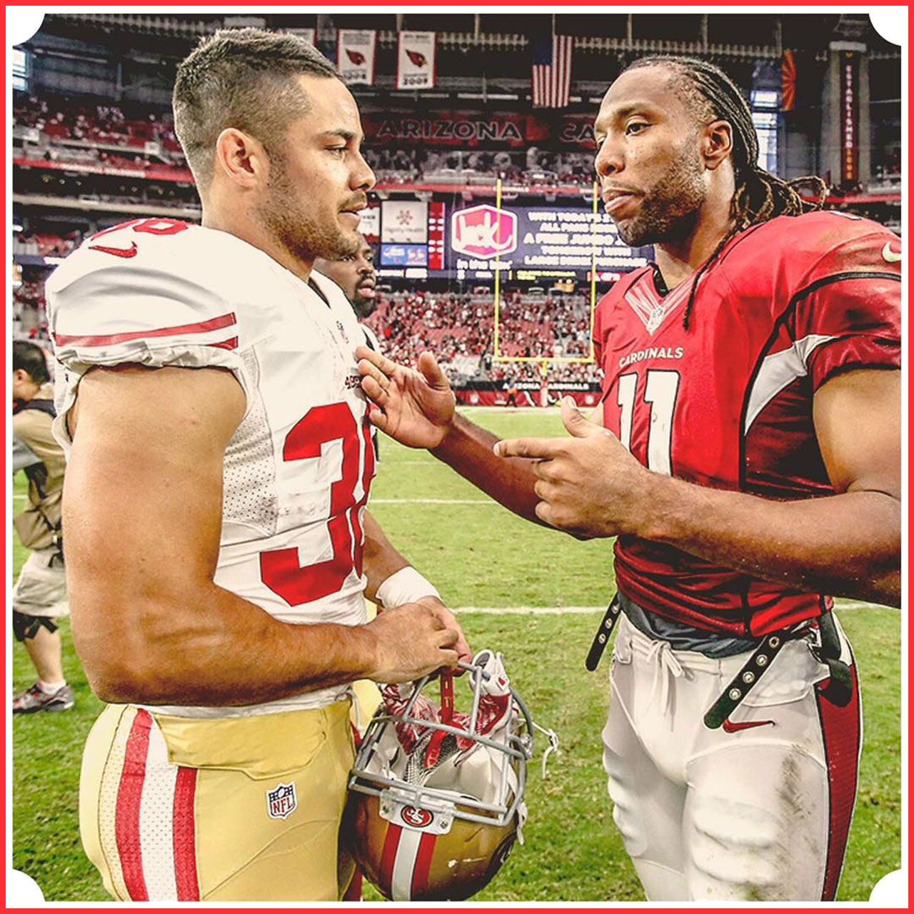 SF 49ers' Jarryd Hayne listens to some friendly advice after Arizona Cardinals game