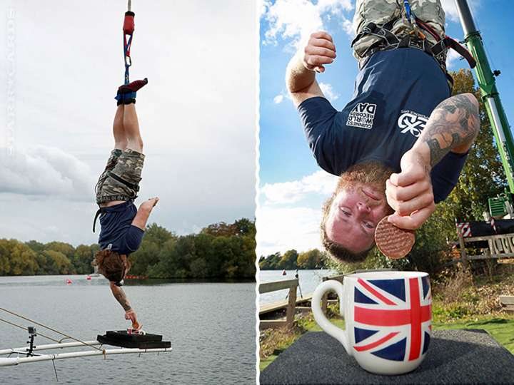 Simon Berry set the new highest bungee dunking world record at 204 ft 10 in