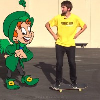 Skateboarding trick with Lucky the Leprechaun