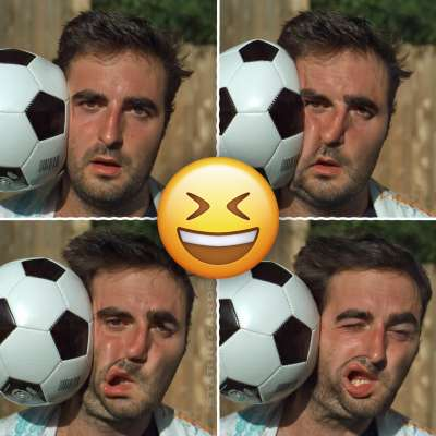 Slo Mo Guys film soccer ball colliding with head in super slow motion