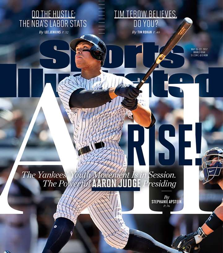 Sports Illustrated cover featuring Yankees slugger Aaron Judge