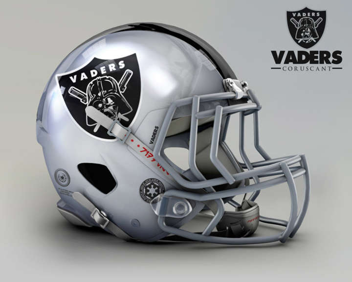 Star Wars-inspired football helmet for the Coruscant Vaders