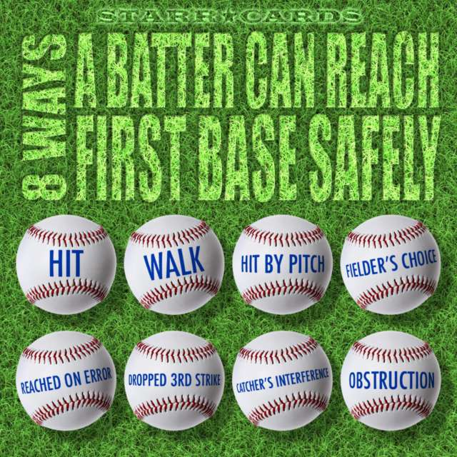 Starr Cards presents 8 ways a batter can reach first base safely