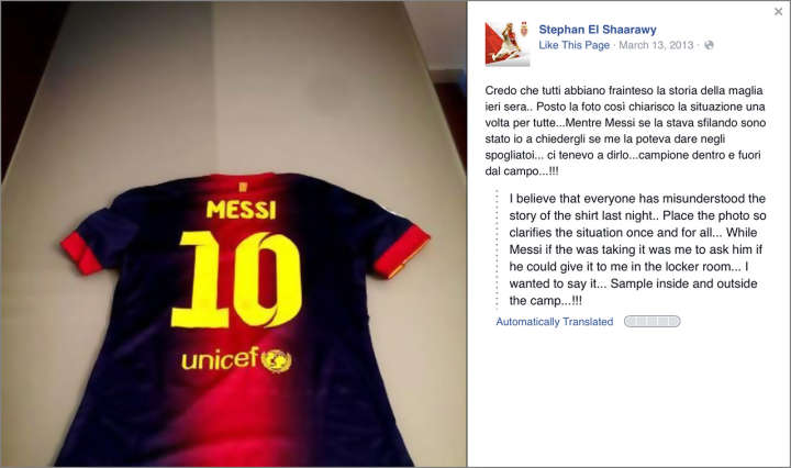 Stephan El Shaarawy shows Lionel Messi jersey on Facebook after swap