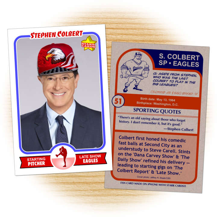 Stephen Colbert baseball card made by Tanya Pierce on the iPhone