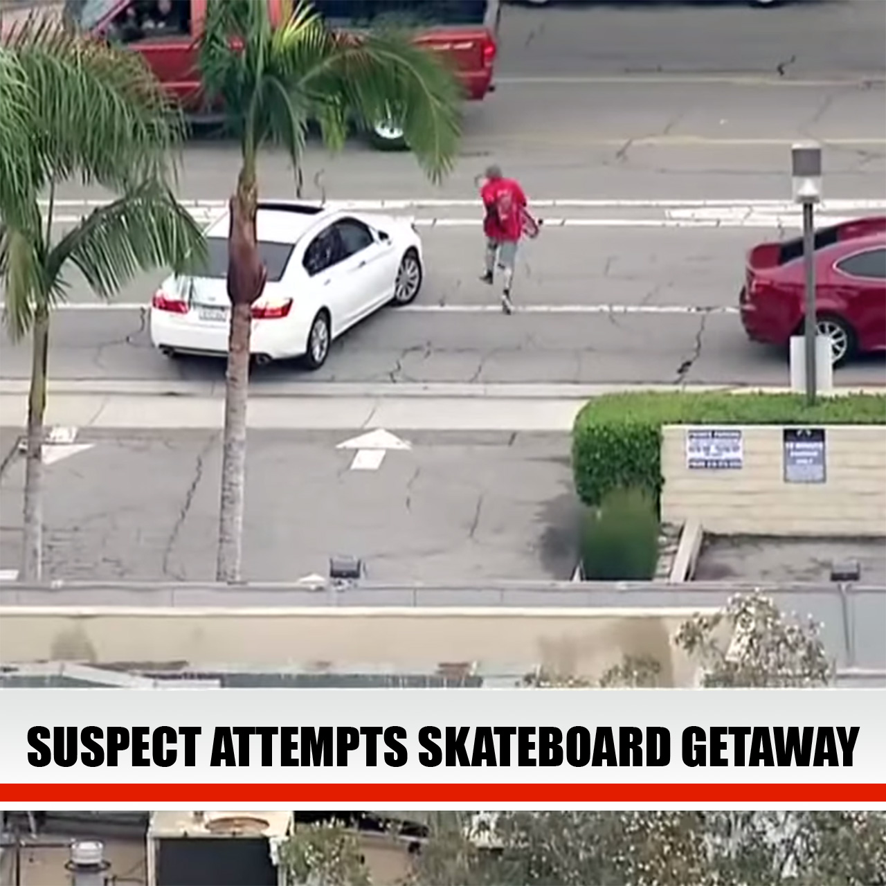 Suspected car thief caught by LAPD after getaway on skateboard.