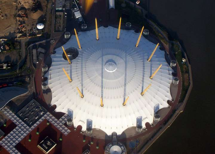 The O2 Arena (formerly Millennium Dome) from above