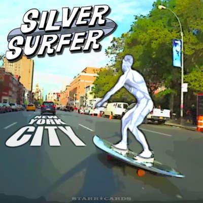 The Silver Surfer skates New York City