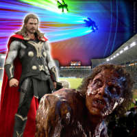 Thor vs The Fly in drone race at LA Galaxy stadium