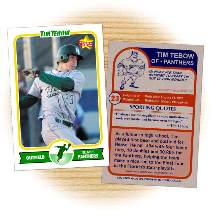 Tim Tebow, Nease Panthers baseball card