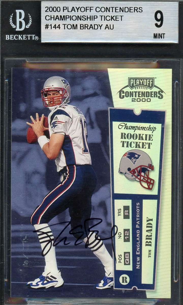 Tom Brady, 2000 Playoff Contenders rookie football card