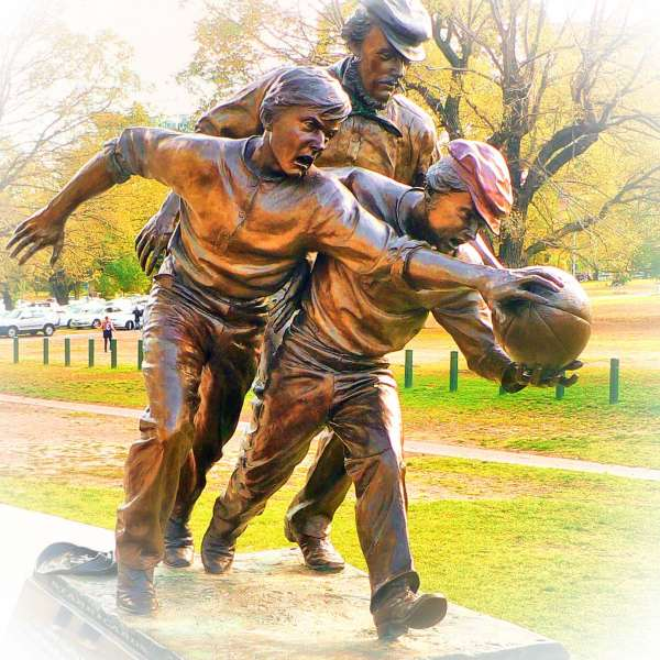Tom Wills statue showing early days of Australian rules football
