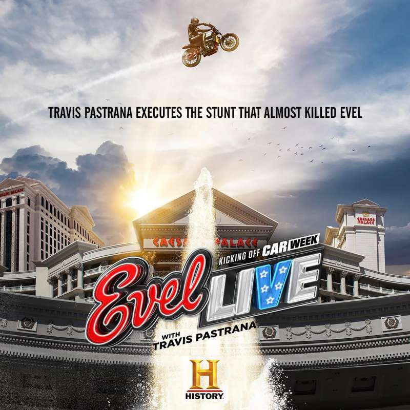 Travis Pastrana executes the Caesars Palace fountain jump that almost killed Evel Knievel