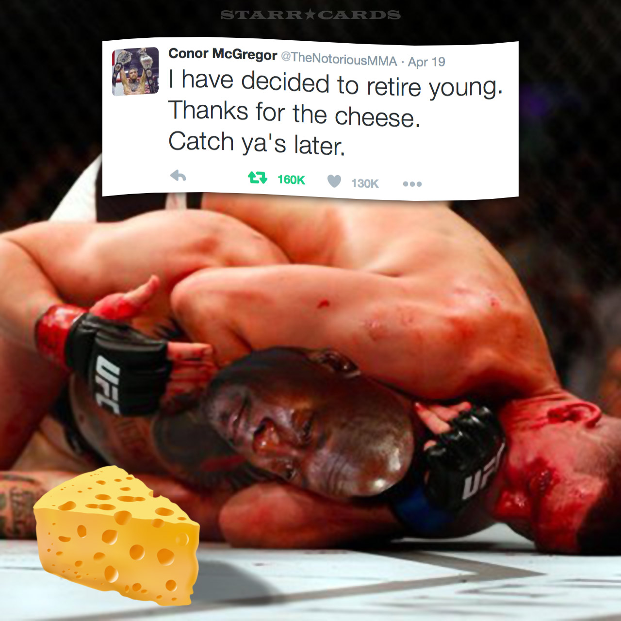 UFC fighter Conor McGregor retires with his cheese