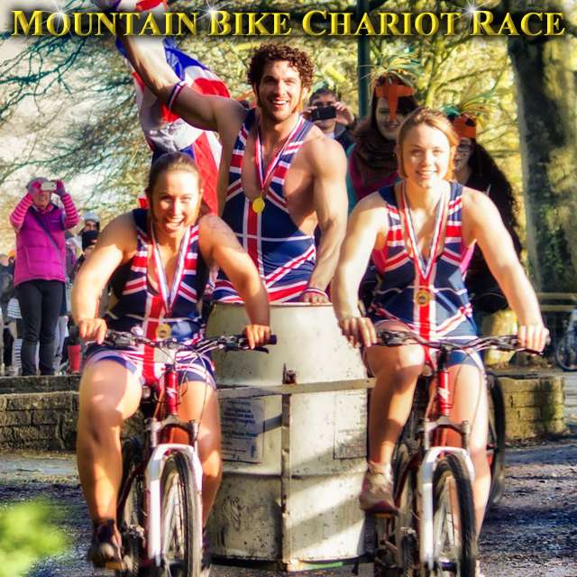 Union Jack costumes in the World Mountain Bike Chariot Race Championships