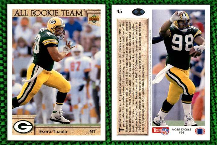 Upper Deck All-Rookie Team football card of Green Bay Packers nose tackle Esera Tuaolo