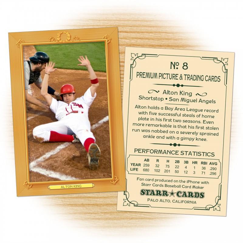 Baseball card template from Starr Cards Baseball Card Maker.