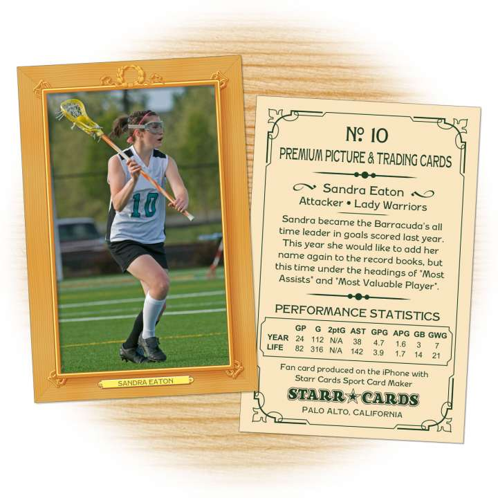 Lacrosse card template from Starr Cards Lacrosse Card Maker.