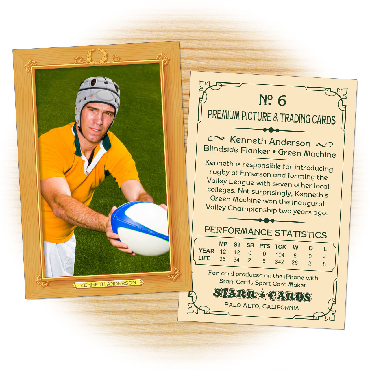 Vintage 11 Series custom rugby cards