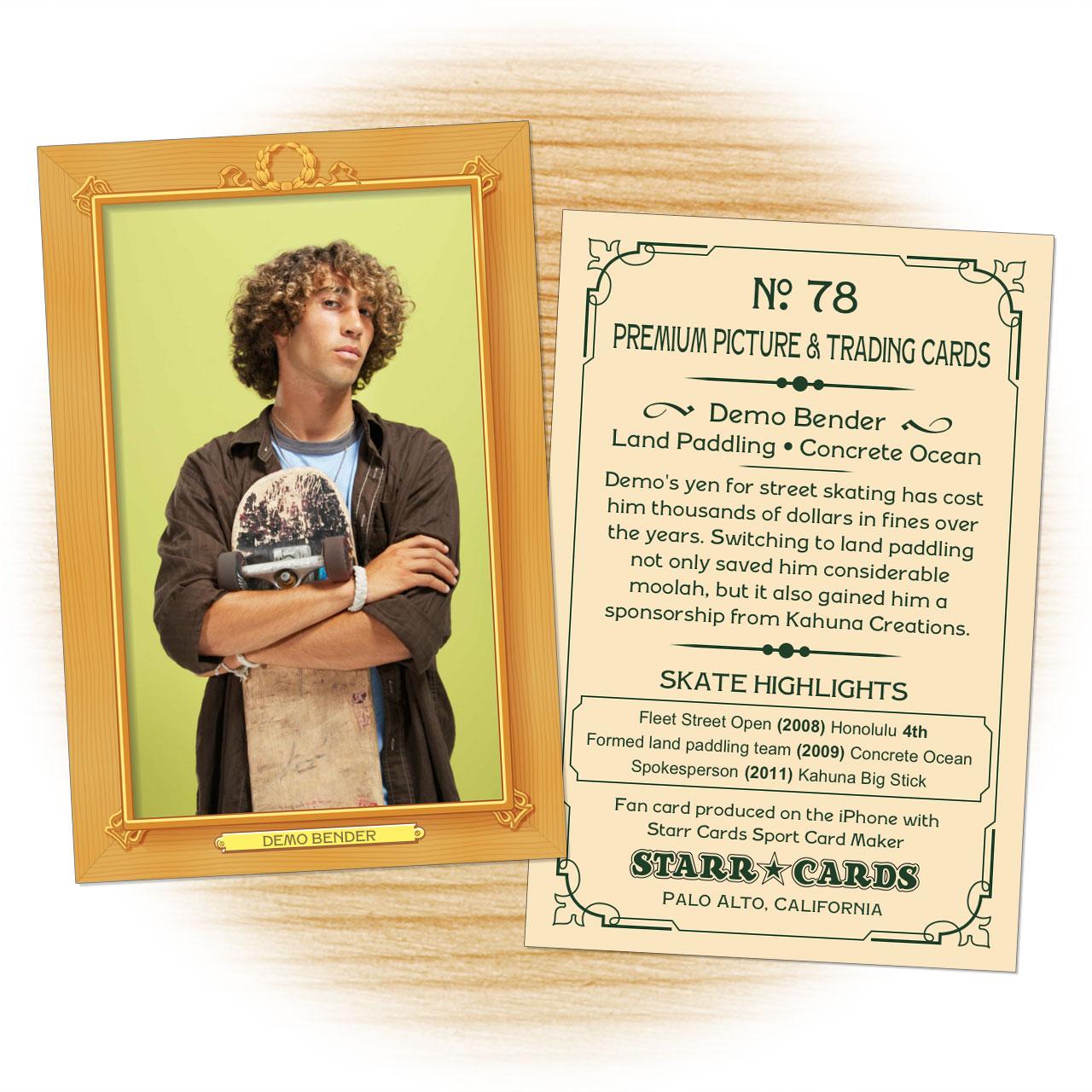 Skater card template from Starr Cards Skateboarding Card Maker.