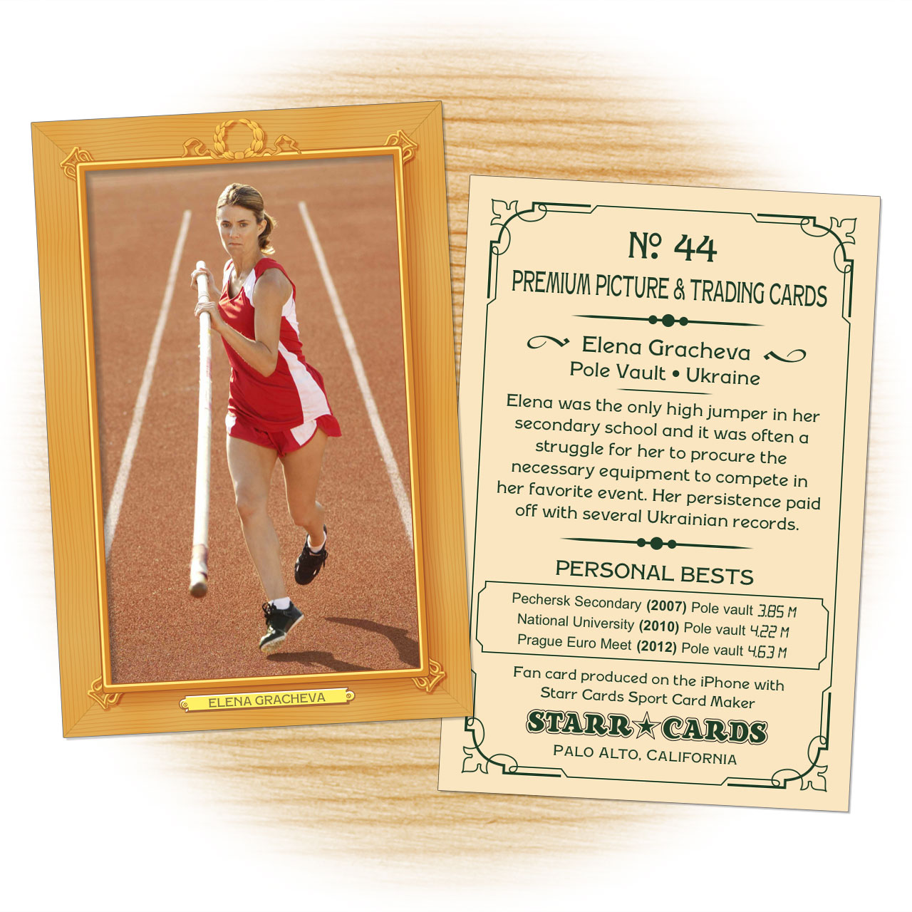 Track and field card template from Starr Cards Track and Field Card Maker.