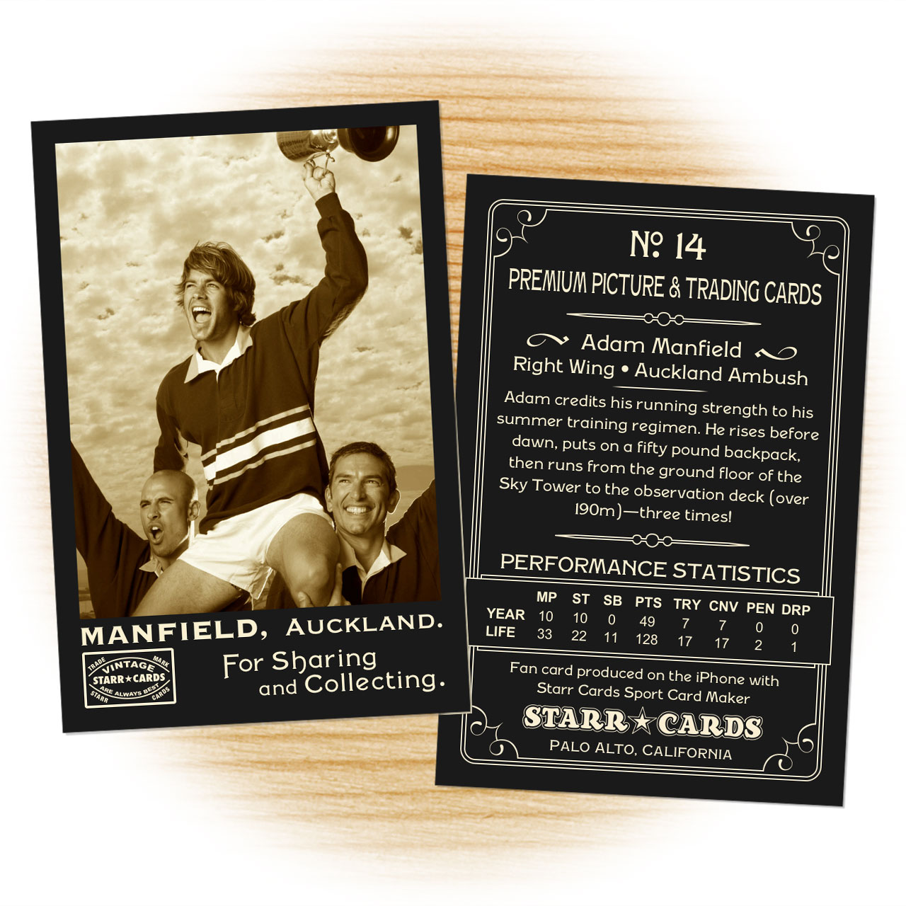Vintage 95 Series custom rugby cards