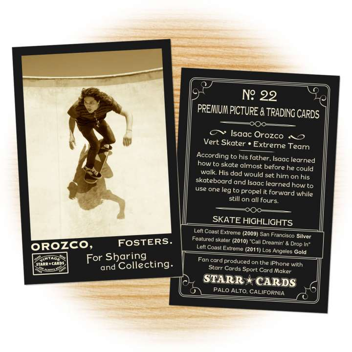 Skateboarding card template from Starr Cards Skateboarding Card Maker.