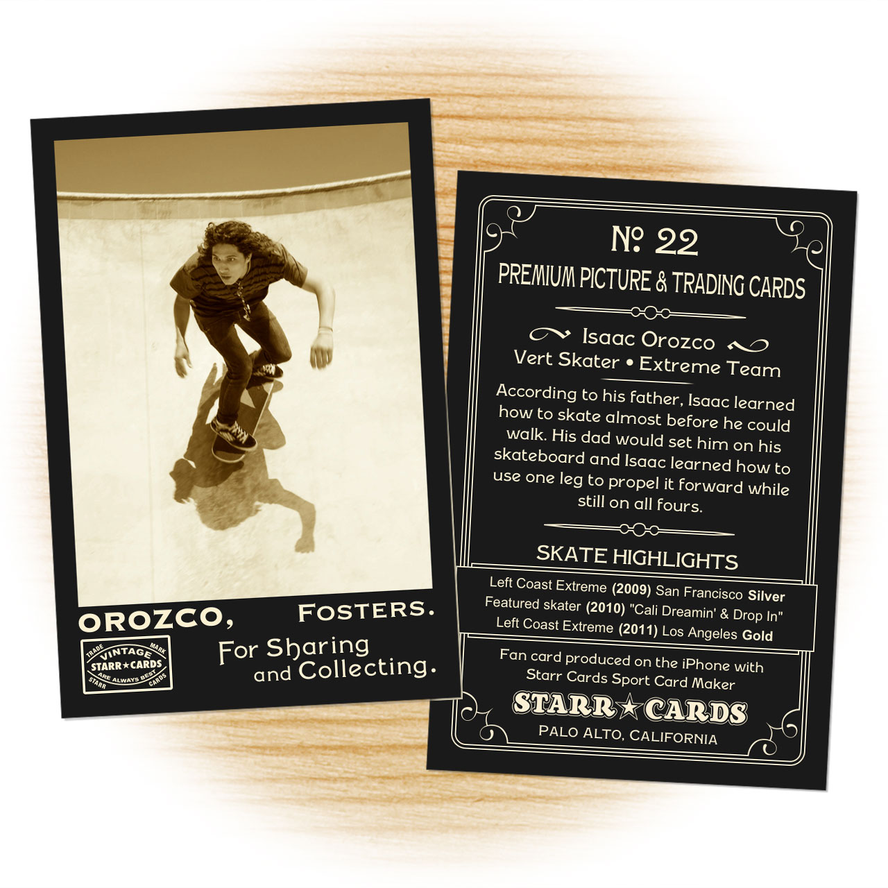Skater card template from Starr Cards Skateboarding Card Maker.