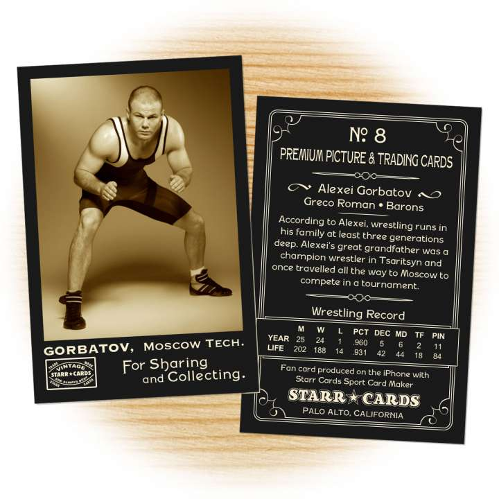 Wrestling card template from Starr Cards Wrestling Card Maker.