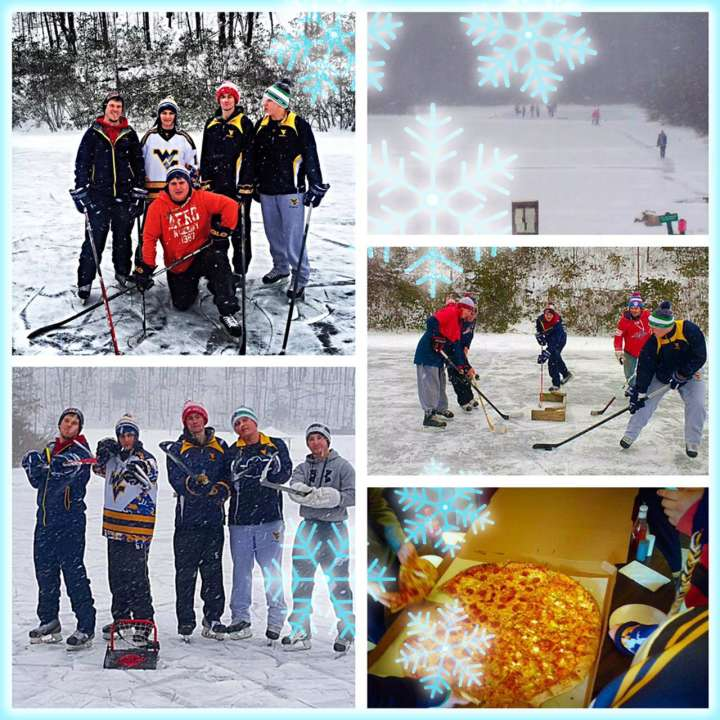 West Virginia Mountaineers hockey team practices in the snow