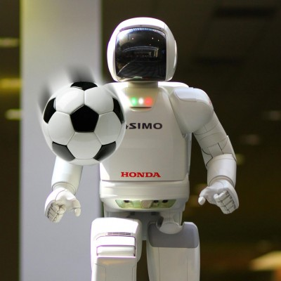 ASIMO playing soccer